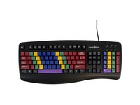 Ablenet LessonBoard Pro standard QWERTY keyboard color coded by finger layout without letters printed on the keys