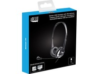 Adesso USB Stereo Headset with Adjustable Microphone- Noise Cancelling- Mono - USB - Wired - Over-the-head - 6 ft Cable -, Omni-directional Microphone - Black