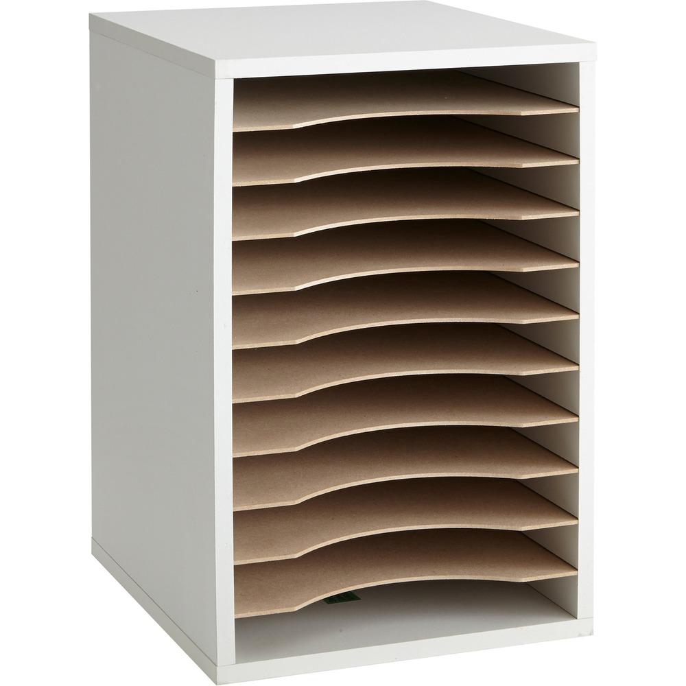 Wood Vertical Desktop Literature Sorter, 11 Sections 10 5/8 x 11 7/8 x 16, Gray