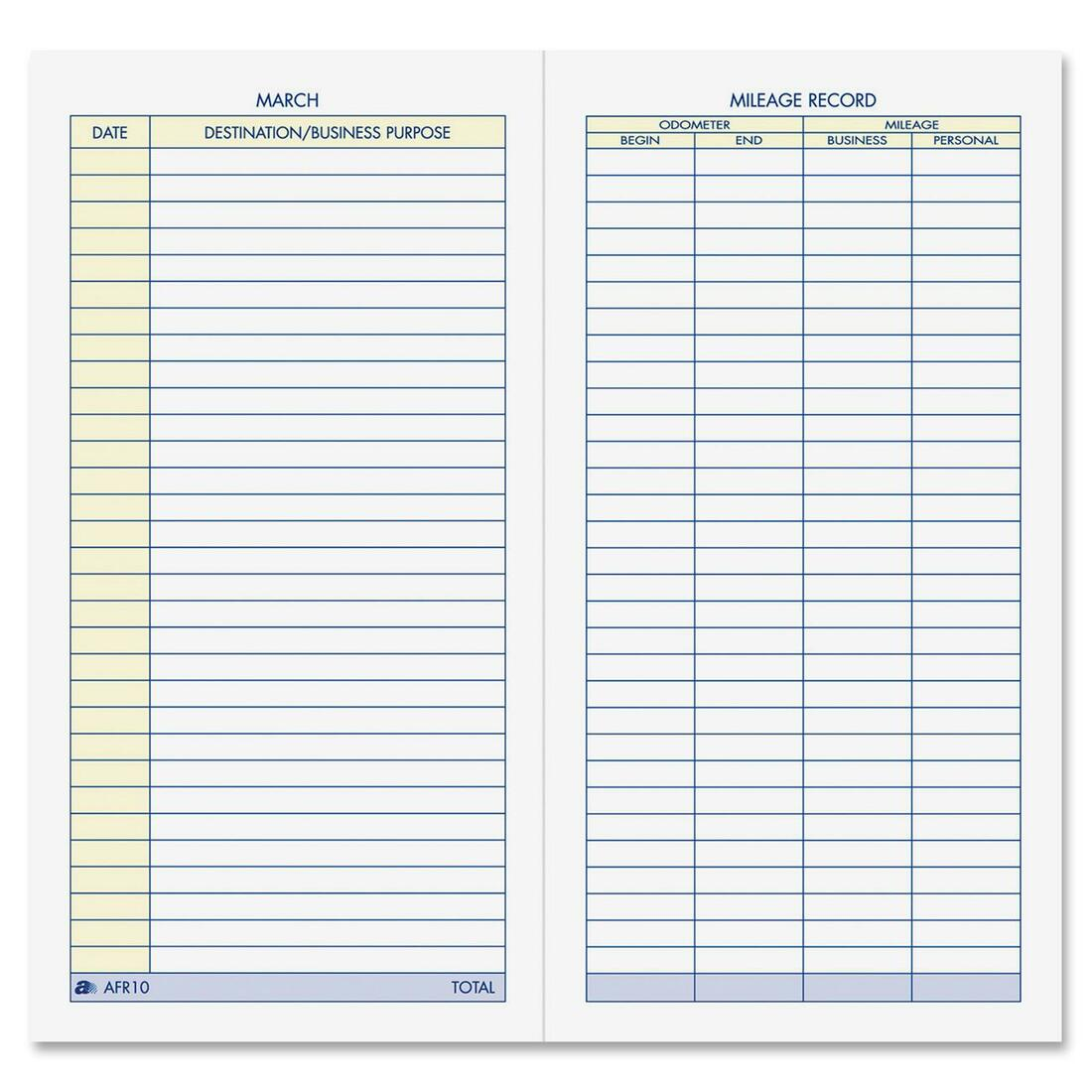 "Adams Vehicle Mileage Log - 64 Sheet[s] - 6.25"" X 3.25"" Sheet Size ..."