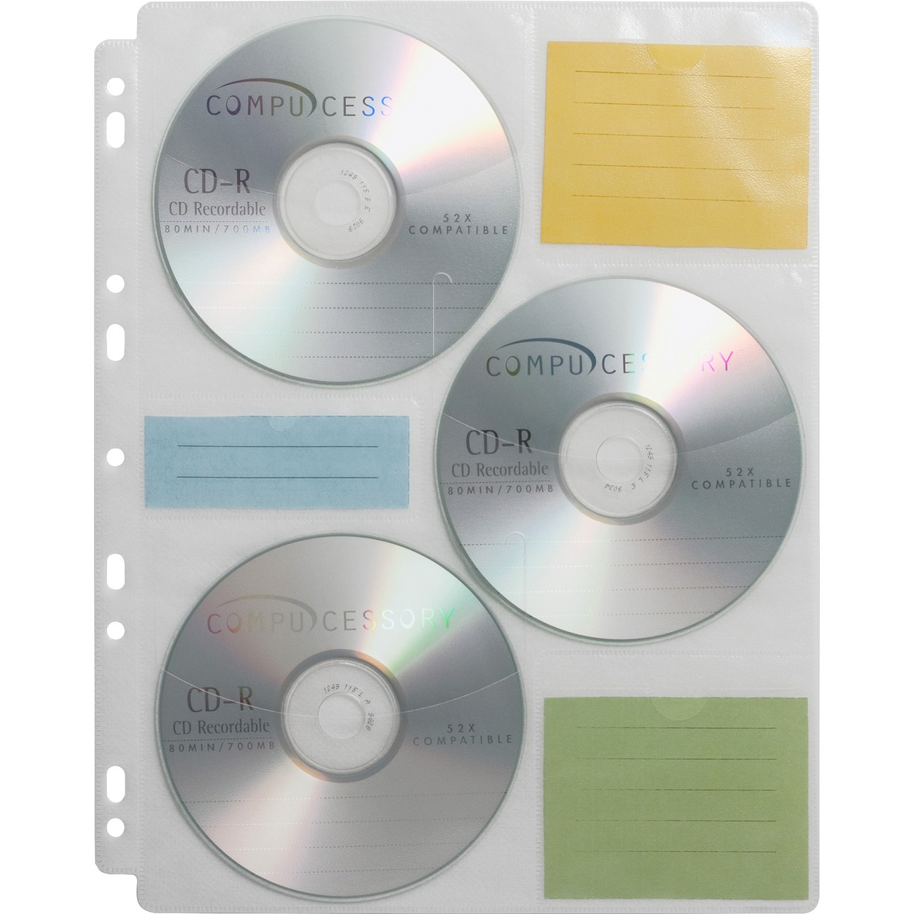 Refill Pages Are Designed For Use With Compucessory Cd Dvd Media Binder Each Page Holds Six Cds Diskettes Or Zip Disks Top Loading Lined