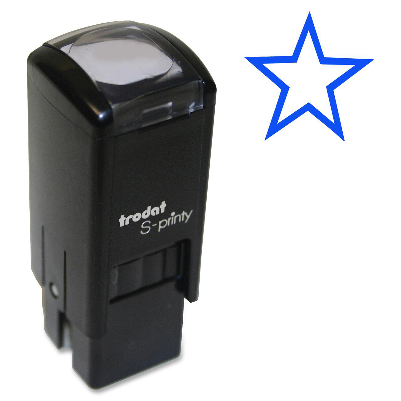 Self Inking Stamp Prints A Star In Blue Features High Quality Casing Mechanism Long Life Replaceable Ink Pad Cartridge And Nontoxic Water Based