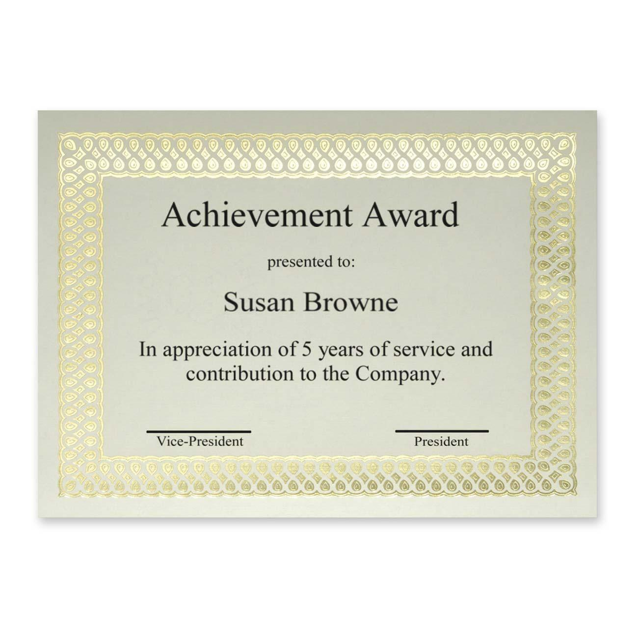 Kamloops office systems office supplies school supplies art create unique memorable awards easily with these blank certificates that feature classic gold foil borders on 24 lb ivory linen stock yadclub Image collections