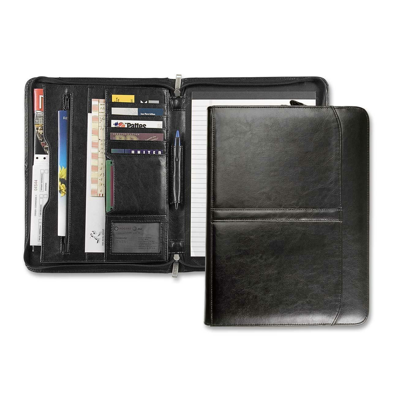Ro-el 3-Point Zipper Leather Portfolio, Black Leather