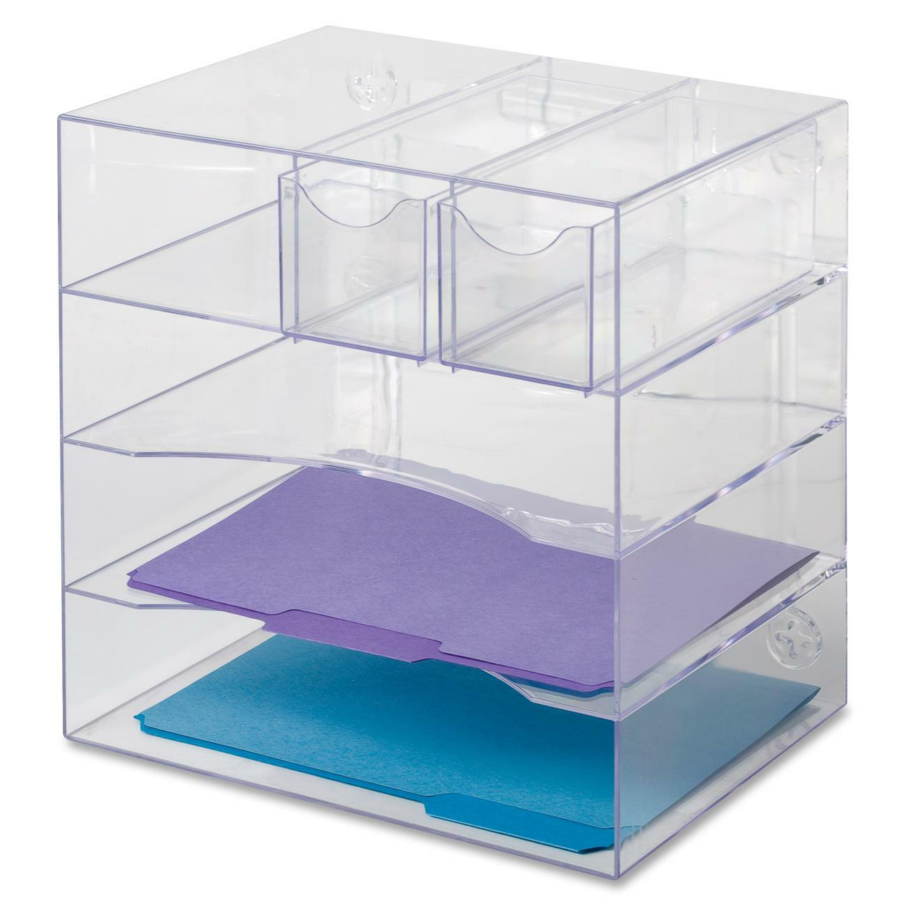 Versatile Four Way Organizer Features Three Trays To Hold Letter Size And A4 Doents Folders Two Fully Removable Drawers Paper Clips