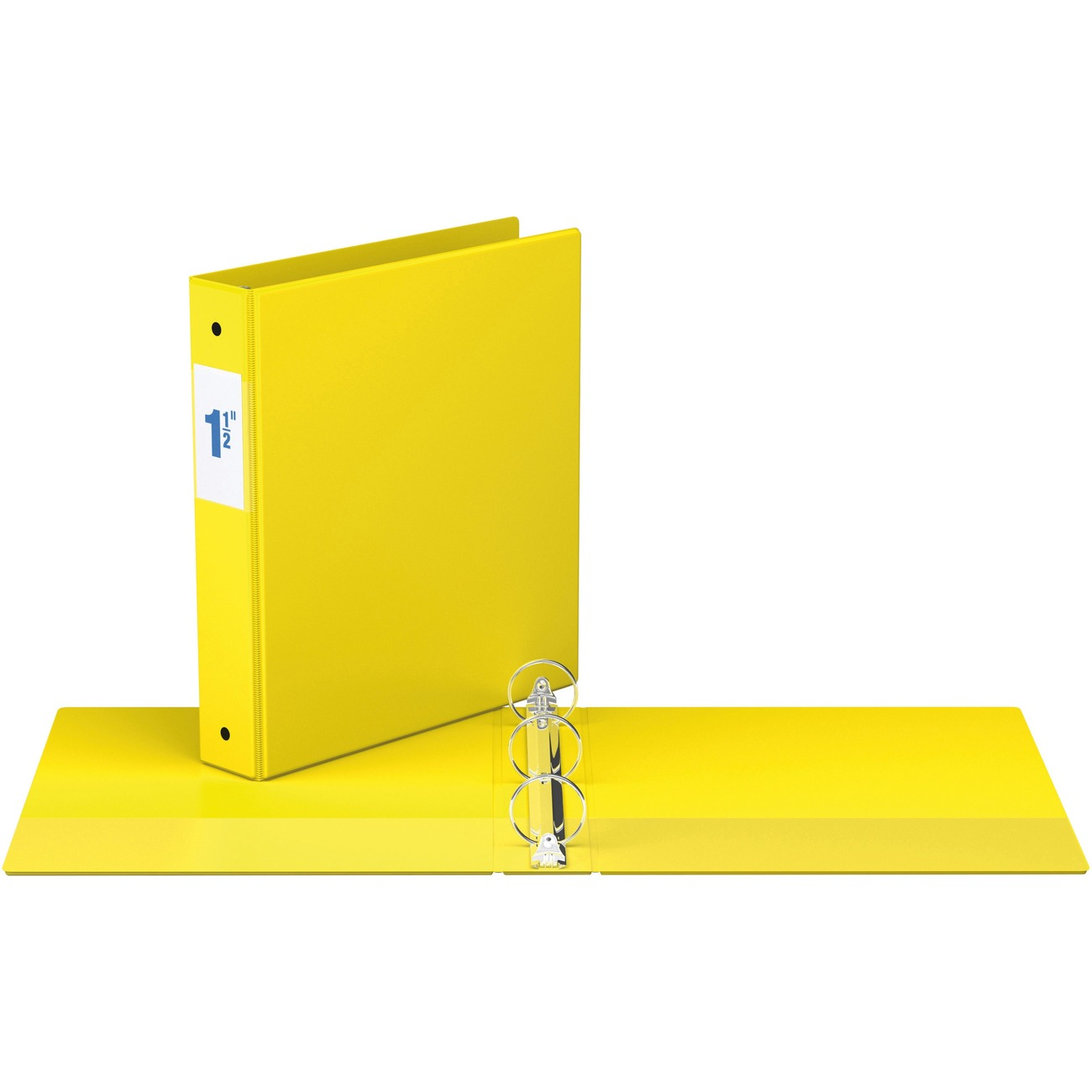 Binder 1 2 Capacity 8 X 11 Sheet Size 3 Round Ring Fastener S Inside Front Back Pocket Yellow Recycled Each