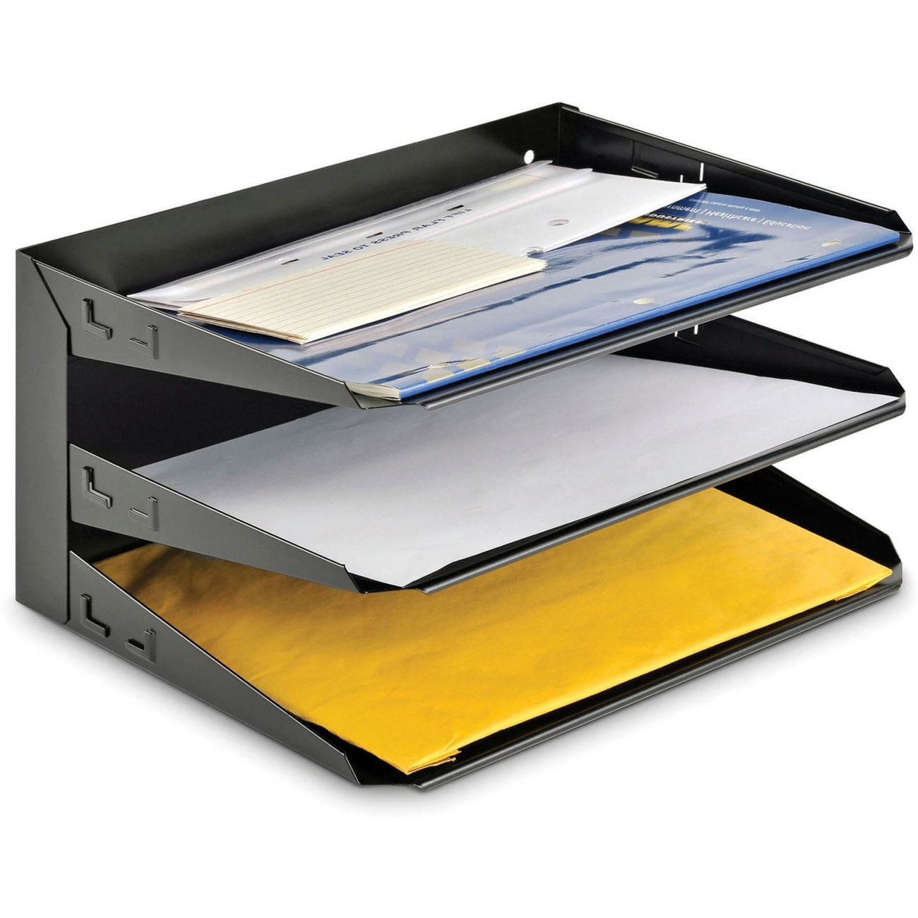 Mmf Horizontal Desk File Trays 3 Tier S 12 1 Height X Width 8 Depth Desktop Wall Mountable Partition Recycled Black Steel