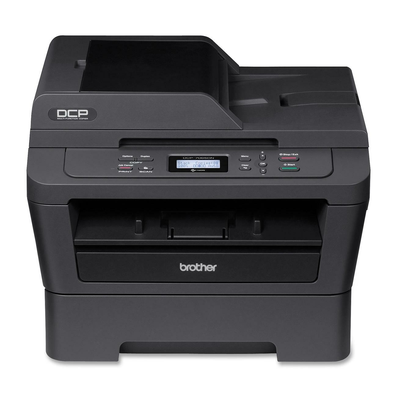 Brother DCP-7065DN Laser Multifunction Printer - Monochrome - Plain Paper Print - Desktop