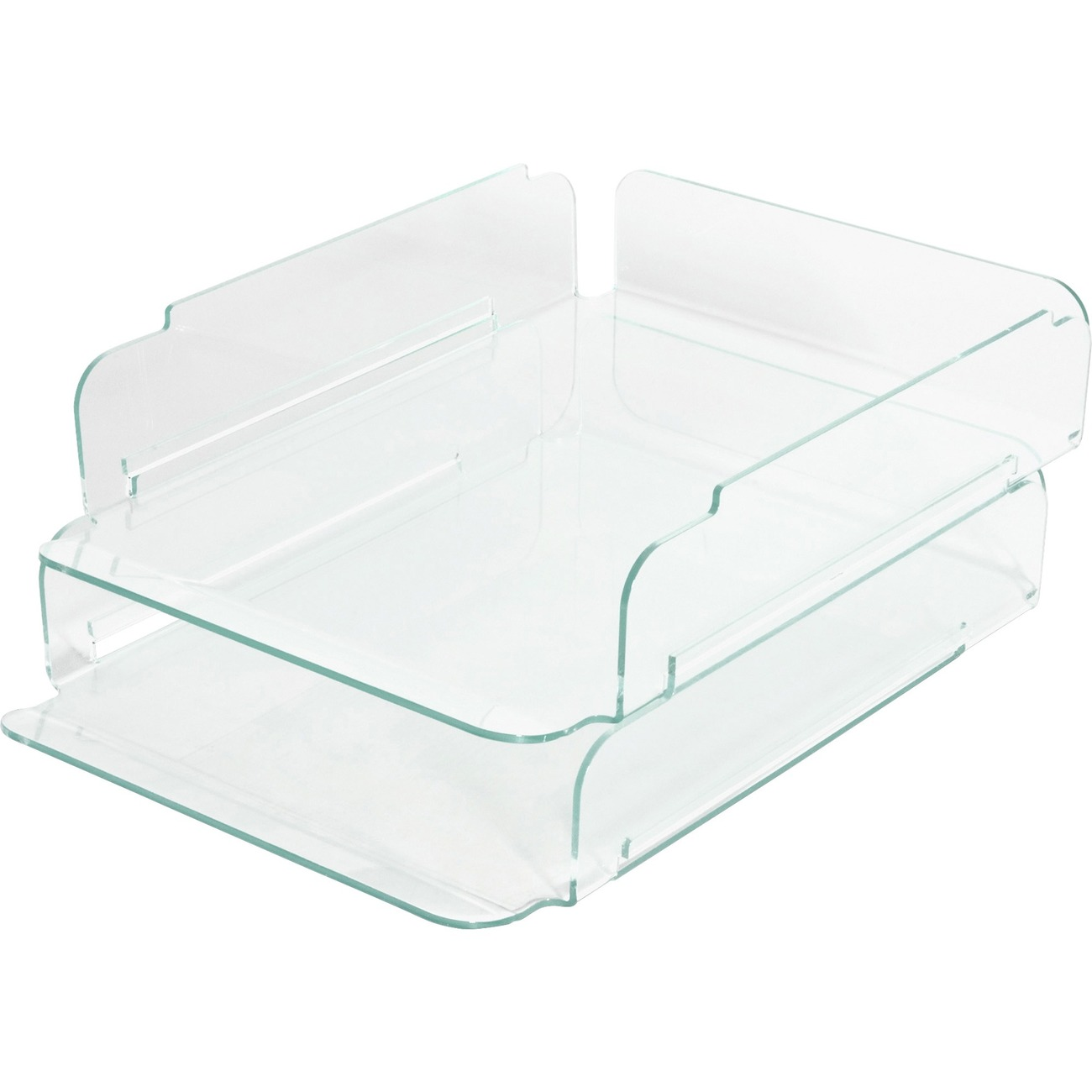 Lorell Stacking Letter Trays   Desktop   Clear, Green   Acrylic   2 / Each