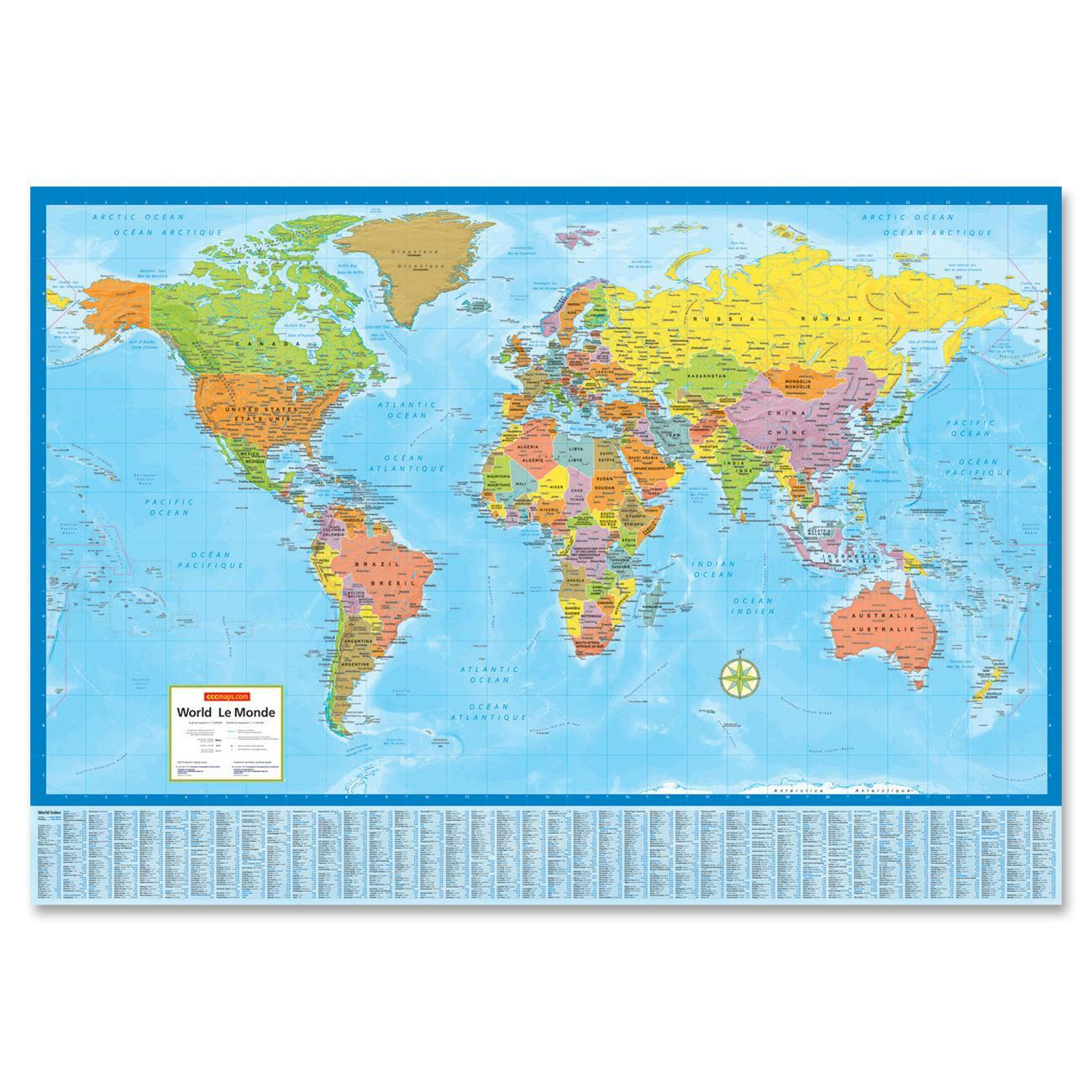 wake up your walls with this colorful contemporary and detailed laminated politicalphysical world wall map with index of country and city names