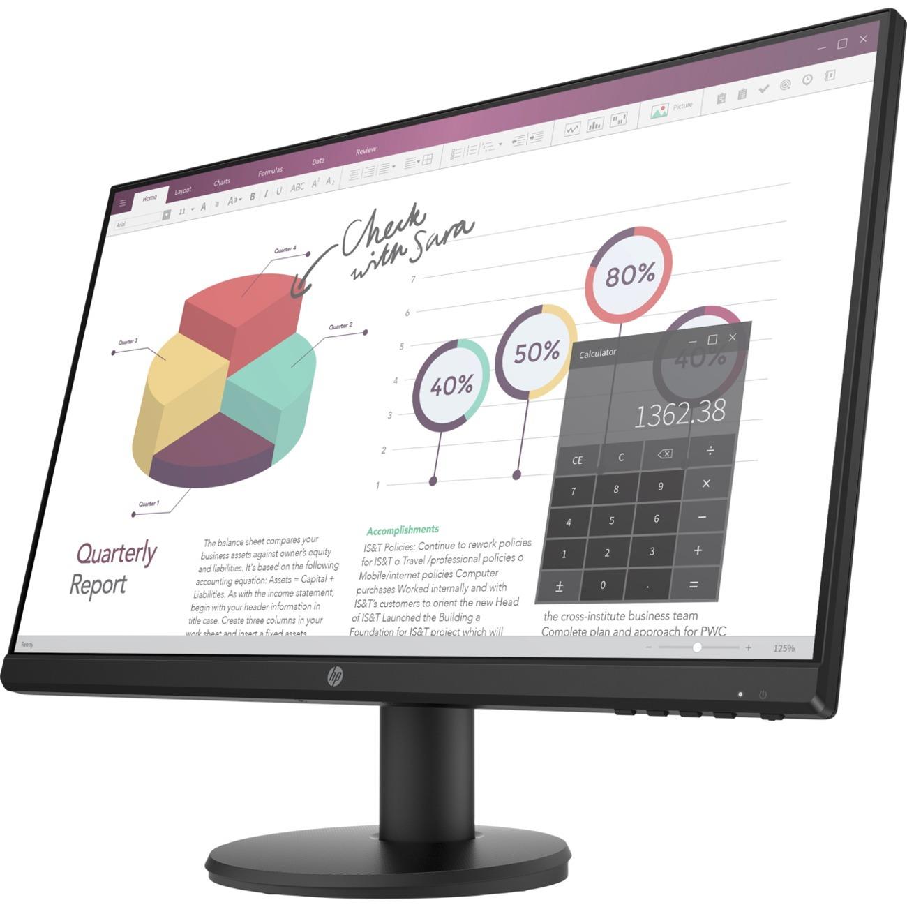 "HP P24v G4 23.8"" Full HD LED LCD Monitor - 16:9 - Black_subImage_1"