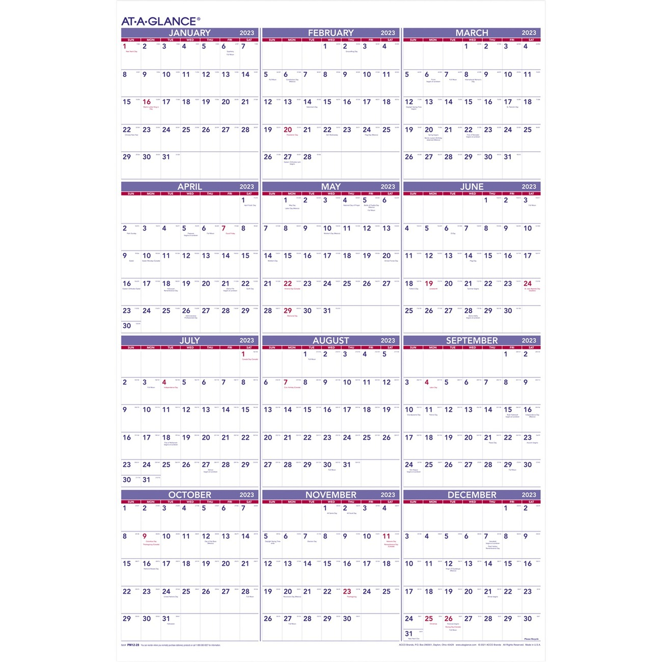 yearly wall calendar offers a view of the entire year to track projects schedule vacations or just look ahead dated planning in quarterly rows ranges 12