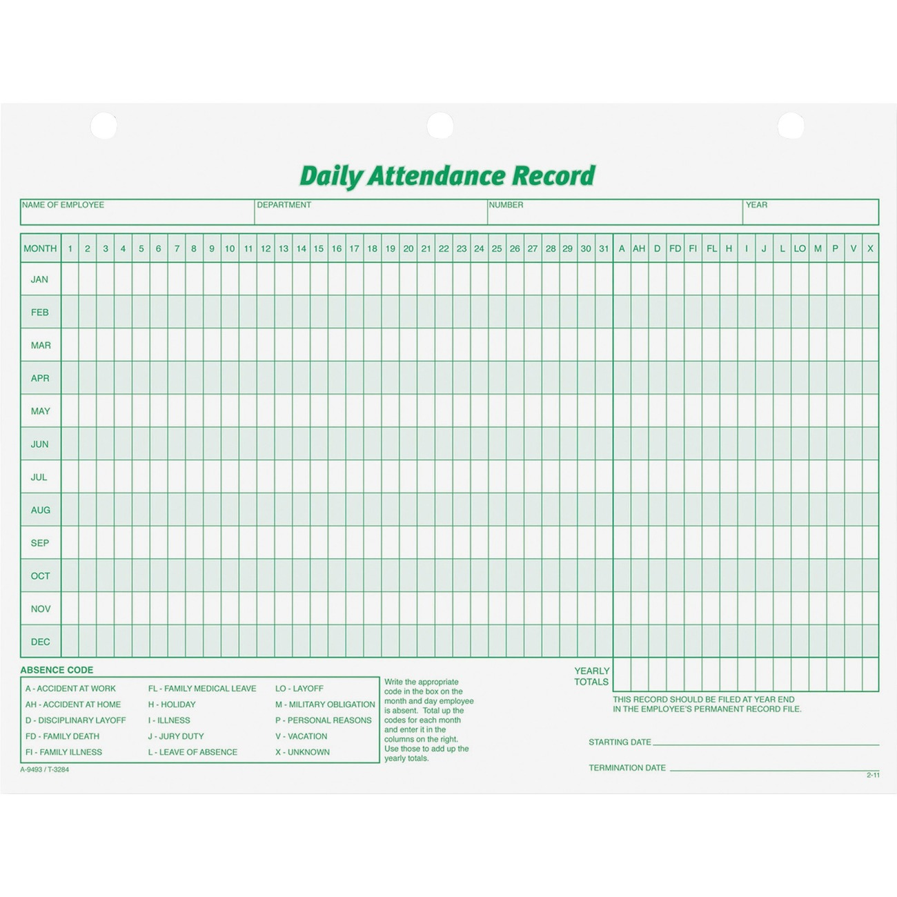 Daily Attendance Record Forms Offer An Enlarged Format To Allow Easy Entry  Of Information And Shows Complete History Of Employee Attendance For One  Year.  Employee Attendance Record Template