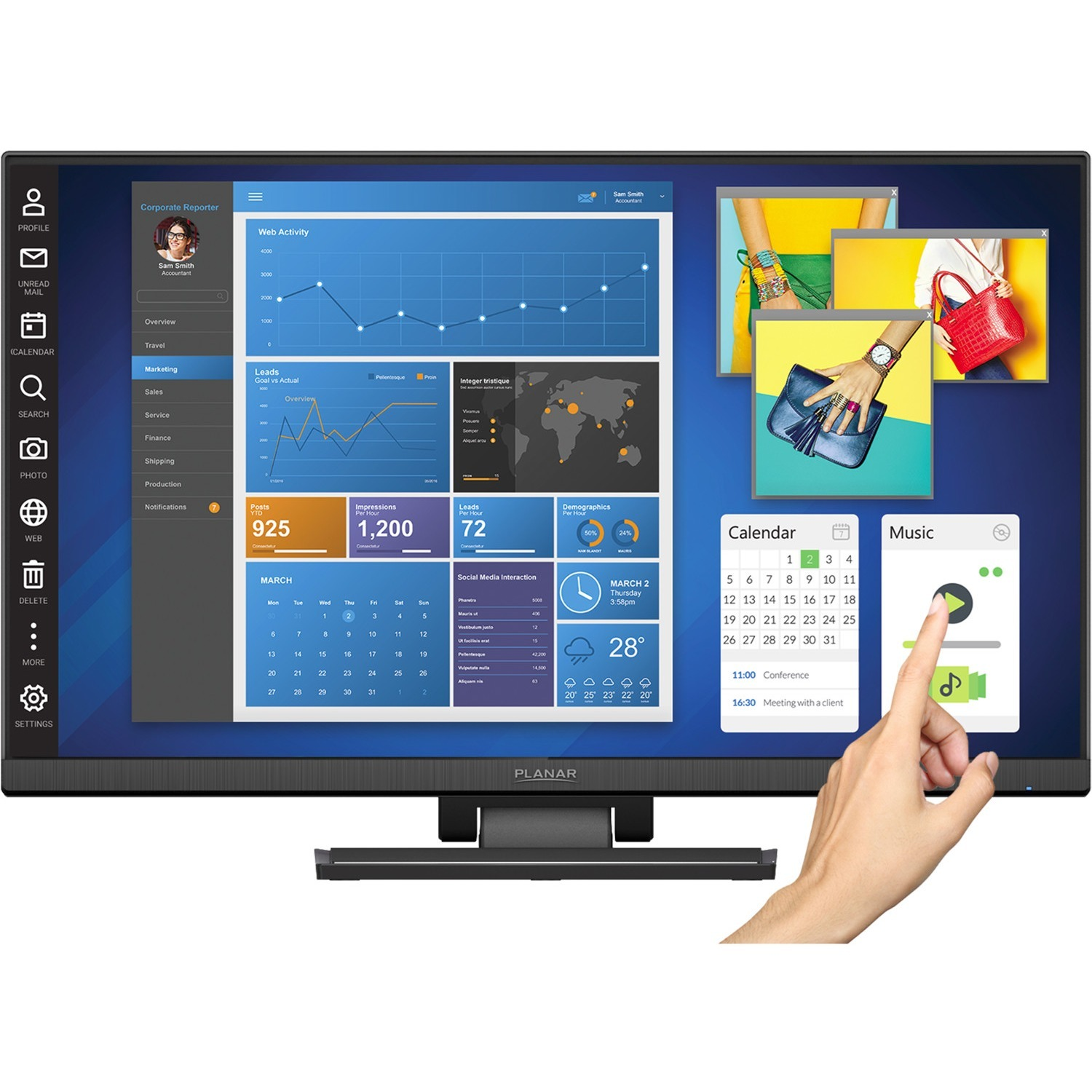 """Planar Helium PCT2435 23.8"""" LCD Touchscreen Monitor - 16:9 - 14 ms_subImage_1"""