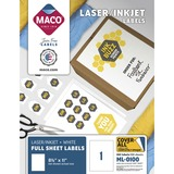 "MACO White Laser/Ink Jet Full Sheet Label - 8.50"" Width x 11"" Length - 100/Box - Rectangle - 1/Sheet - Laser, Inkjet - White"