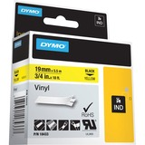 Dymo Colored Industrial Rhino Vinyl Labels - 3/4IN Width x 18 3/64 ft Length - Rectangle - Black, Yellow - Vinyl - 1 (18433)