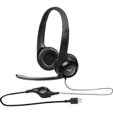 Logitech Padded H390 USB Headset - Stereo - Black, Silver - USB - Wired - 20 Hz - 20 kHz - Over-the-head - Binaural - (981-000014)