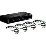 TRENDnet 4-Port USB / PS/2 KVM Switch Kit w/ Audio - 4 x 1 - 4 x Type B USB, 4 x HD-15 Keyboard/Mouse/Video (TK-423K)