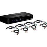 TRENDnet 4-Port USB / PS/2 KVM Switch Kit w/ Audio