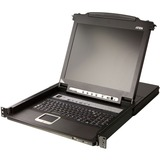 "ATEN Slideaway CL5708M 17"" LCD Console 8-Port Combo KVM with Peripheral Sharing Technology"