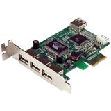 StarTech.com 4 Port PCI Express Low Profile High Speed USB Card - 3 x 4-pin Type A Female USB 2.0 USB External (PEXUSB4DP)