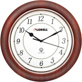 "Lorell 13-1/4"" Round Wood Wall Clock"