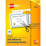 "Avery 73601 Laminating Sheet - 9"" Width x 12"" Length x 3 mil Thickness - Self-adhesive - 50 / Box"
