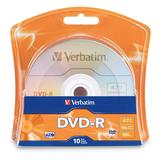 Verbatim 96938 DVD Recordable Media - DVD-R - 16x - 4.70 GB - 10 Pack Blister