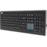Adesso SlimTouch WKB-4400UB Keyboard - Wireless Connectivity - RF - USB Interface - 104 Key - English, French - QWERT (WKB-4400UB)