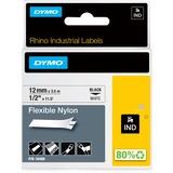 Dymo Rhino Flexible Nylon Labels - 15/32IN Width x 11 31/64 ft Length - Thermal Transfer - White, Black - Nylon - 1 E (18488)