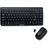 Verbatim Wireless Mini Slim Keyboard and Optical Mouse - Black - USB Wireless RF Keyboard - USB Wireless RF Mouse (97472)