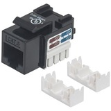 Intellinet Cat6 UTP Punch-down Keystone Jack, Black - Plastic housing for use with 22 to 26 AWG stranded and solid wire