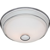 """Hunter Fan Victorian Bathroom Fan and Light in Traditional Chrome and Porcelain (81021) - Easy to Clean, Quiet, Night Light - 6.5"""" Height x 8.4"""" Width - Glass Shade, Metal Housing - Chrome"""