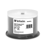 Verbatim DVD-R 4.7GB 8x DataLifePlus White Inkjet Hub Printable, 50pk Spindle