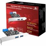 Vantec 4-Port SuperSpeed USB 3.0 PCIe Host Card w/ Internal 20-Pin Connector - PCI Express - Plug-in Card - 4 USB Por (UGT-PC345)