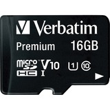 Verbatim 16GB Premium microSDHC Memory Card with Adapter, UHS-I Class 10 - Class 10 - 1 Card/1 Pack (44082)