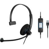 Sennheiser SC 30 USB CTRL Headset - Mono - Black - USB - Wired - 60 Hz - 16 kHz - Over-the-head - Monaural - Supra-au (504548)