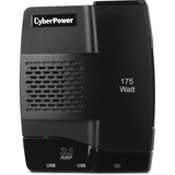 CyberPower CPS175S2U Mobile Power Inverter 175W with 2.1A USB Charger - Slim Line Design - Input Voltage: 12 V DC - Output Voltage: 120 V AC - Continuous Power: 175 W