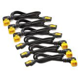 APC Cables Power Cord Kit (6 ea), Locking, C13 TO C14 (90 Degree), 0.6m, North America