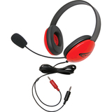 Califone Red Stereo Headphone w/ Mic Dual 3.5mm Plug Via Ergoguys