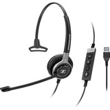 Sennheiser Century SC 630 USB ML Wired Mono Headset - Over-the-head - Circumaural - Black, Silver- does not include c (504552)