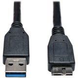 Tripp Lite USB 3.0 SuperSpeed Device Cable (A to Micro-B M/M) Black, 3-ft.