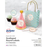 Avery&reg Pearlized Ivory Print-to-the-Edge Scallop Round Labels