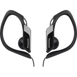 Panasonic Water-Resistant Sport Clip Earbud Headphones RP-HS34M-K - Stereo - Black - Mini-phone - Wired - 23 Ohm - 10 Hz - 22 kHz - Nickel Plated - Earbud, Over-the-ear - Binaural - In-ear - 3.94 ft Cable