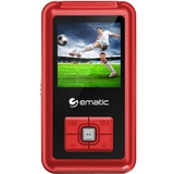"""Ematic EM208VID 8 GB Red Flash Portable Media Player - Photo Viewer, Video Player, Audio Player, FM Tuner, Voice Recorder, e-Book, FM Recorder - 1.5"""" - USB - Headphone"""
