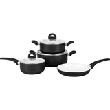 "PURELIFE 7 Piece Pressed Aluminum Cookware Set - 10"" Diameter Frying Pan, 10"" Diameter Casserole, 6"" Diameter Saucepan, 8"" Diameter Casserole - Aluminum Bottom, Rubberized Handle, Ceramic, Tempered Glass"