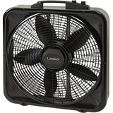 "Lasko 20"" Weather-Shield Select Box Fan with Thermostat - 20"" Diameter - 3 Speed - Carrying Handle, Thermostat, Anti-slip Feet - 22.5"" Height x 4.5"" Width - Black"