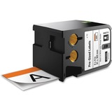 Dymo XTL Pre-Sized Safety Labels - 2 1/64IN Width x 4 1/64IN Length - Rectangle - Thermal Transfer - White, Orange - (1868713)