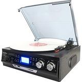 boytone Home Turntable System BT-17DJB - Belt Drive - 33.3, 45, 78 rpm - SD - Black