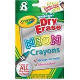 Crayola Washable DryErase Neon Crayons - Neon Assorted Wax - 8 / Box